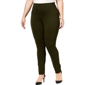 Style & Co Front Seamed Ponte Leggings 18W Green